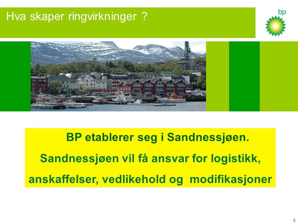 6 Hva skaper ringvirkninger ? BP etablerer seg i Sandnessjøen. Sandnessjøen vil få ansvar for logistikk, anskaffelser, vedlikehold og modifikasjoner