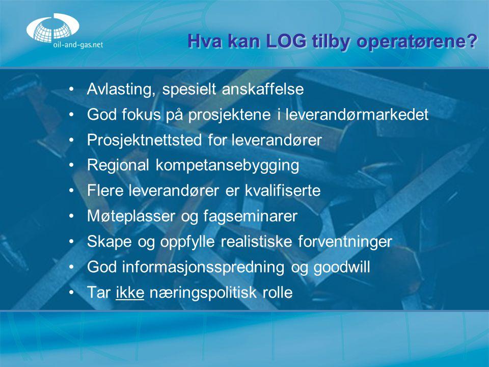 Hva kan LOG tilby operatørene? Avlasting, spesielt anskaffelse God fokus på prosjektene i leverandørmarkedet Prosjektnettsted for leverandører Regiona