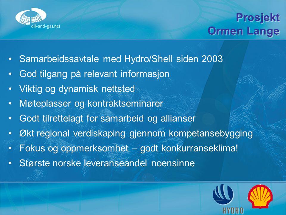 Prosjekt Ormen Lange Samarbeidssavtale med Hydro/Shell siden 2003 God tilgang på relevant informasjon Viktig og dynamisk nettsted Møteplasser og kontr
