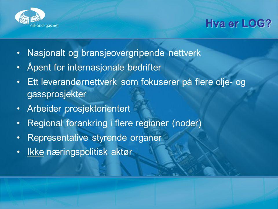 Hva er LOG? Nasjonalt og bransjeovergripende nettverk Åpent for internasjonale bedrifter Ett leverandørnettverk som fokuserer på flere olje- og gasspr
