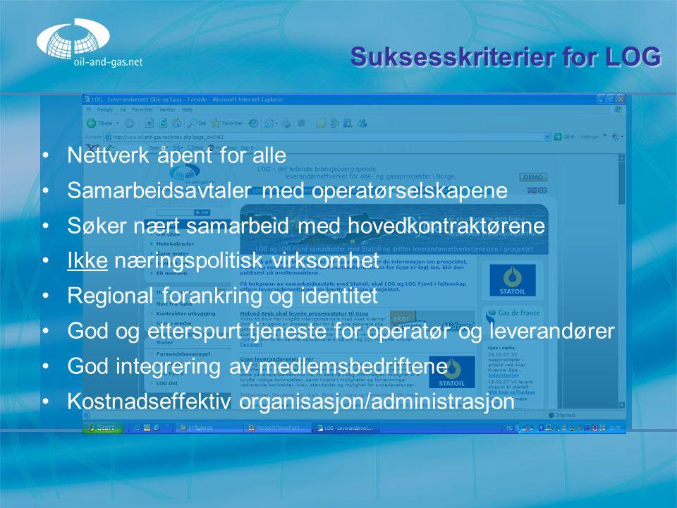 Suksesskriterier for LOG Nettverk åpent for alle Samarbeidsavtaler med operatørselskapene Søker nært samarbeid med hovedkontraktørene Ikke næringspoli