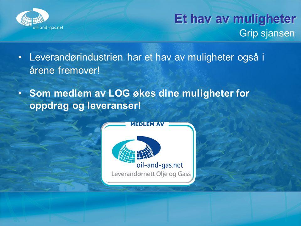 Et hav av muligheter Leverandørindustrien har et hav av muligheter også i årene fremover! Som medlem av LOG økes dine muligheter for oppdrag og levera