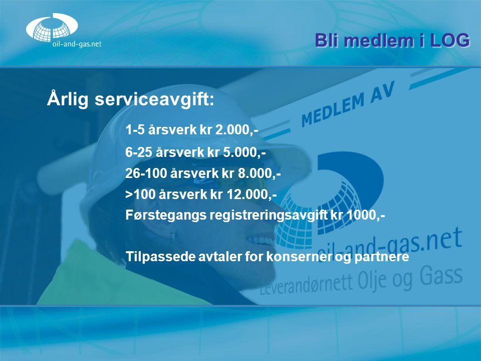 Bli medlem i LOG Årlig serviceavgift: 1-5 årsverk kr 2.000,- 6-25 årsverk kr 5.000,- 26-100 årsverk kr 8.000,- >100 årsverk kr 12.000,- Førstegangs re