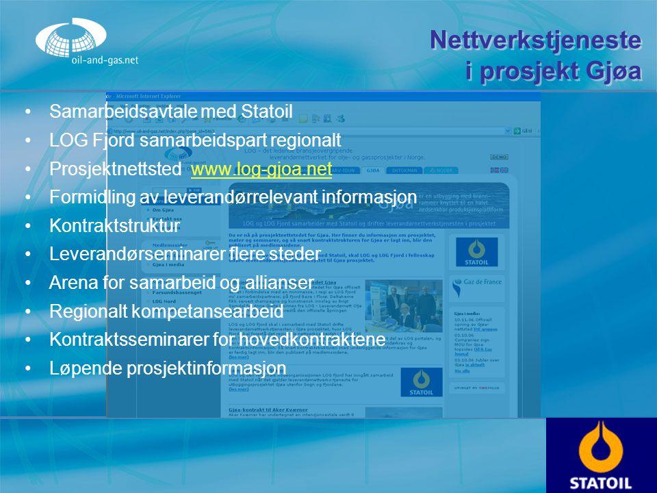 Nettverkstjeneste i prosjekt Gjøa Samarbeidsavtale med Statoil LOG Fjord samarbeidspart regionalt Prosjektnettsted www.log-gjoa.netwww.log-gjoa.net Fo