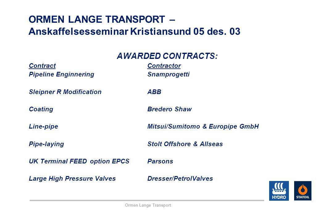 Ormen Lange Transport ORMEN LANGE TRANSPORT – Anskaffelsesseminar Kristiansund 05 des. 03 AWARDED CONTRACTS: ContractContractor Pipeline EnginneringSn
