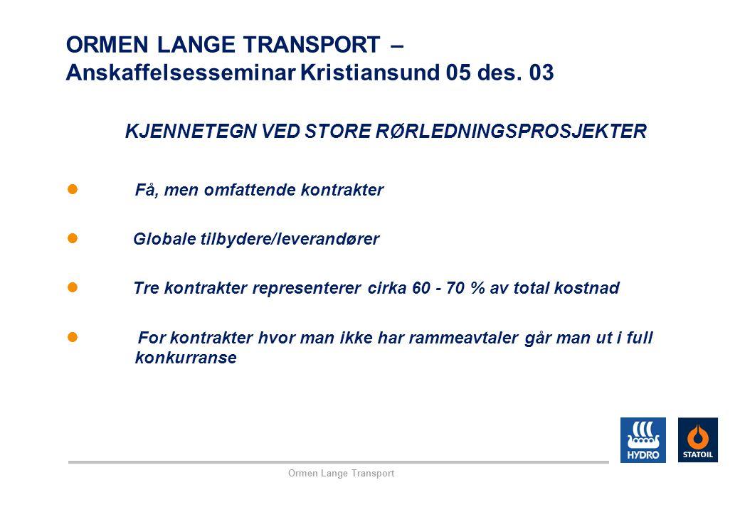 Ormen Lange Transport ORMEN LANGE TRANSPORT – Anskaffelsesseminar Kristiansund 05 des. 03 KJENNETEGN VED STORE RØRLEDNINGSPROSJEKTER Få, men omfattend