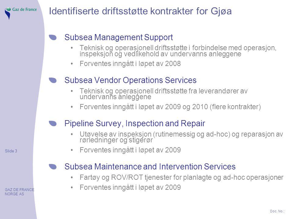 Slide 3 GAZ DE FRANCE NORGE AS Doc. No.: Identifiserte driftsstøtte kontrakter for Gjøa Subsea Management Support Teknisk og operasjonell driftsstøtte
