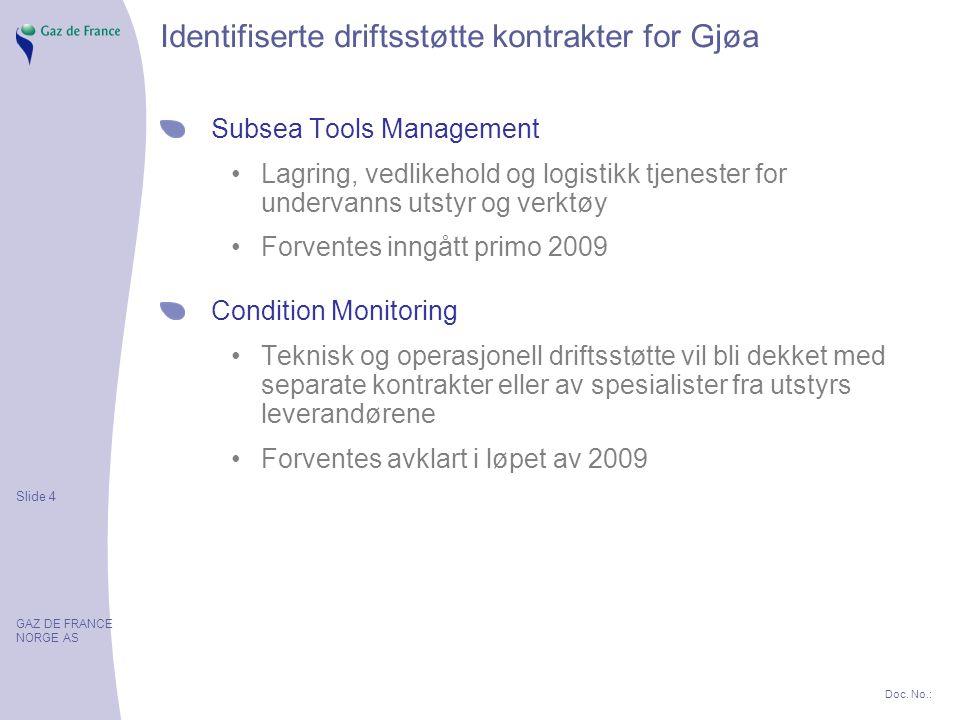 Slide 4 GAZ DE FRANCE NORGE AS Doc. No.: Identifiserte driftsstøtte kontrakter for Gjøa Subsea Tools Management Lagring, vedlikehold og logistikk tjen