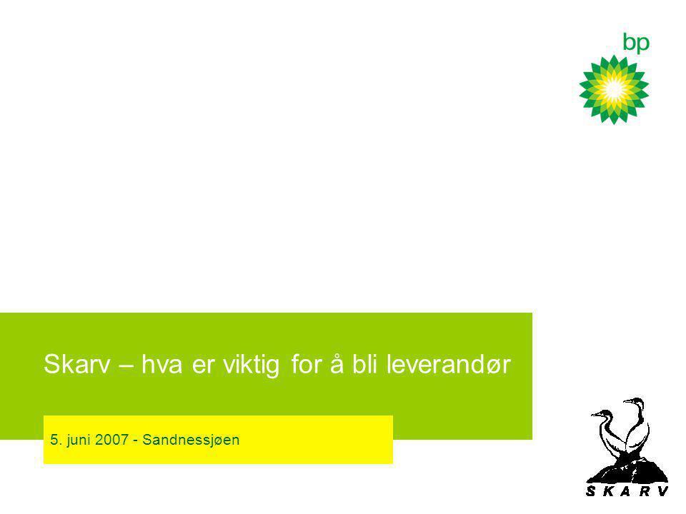 Skarv – hva er viktig for å bli leverandør 5. juni 2007 - Sandnessjøen