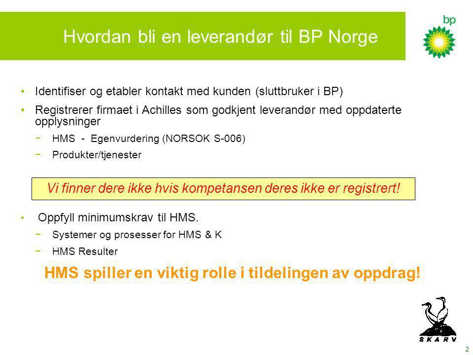 2 Hvordan bli en leverandør til BP Norge Identifiser og etabler kontakt med kunden (sluttbruker i BP) Registrerer firmaet i Achilles som godkjent leverandør med oppdaterte opplysninger − HMS - Egenvurdering (NORSOK S-006) − Produkter/tjenester Oppfyll minimumskrav til HMS.