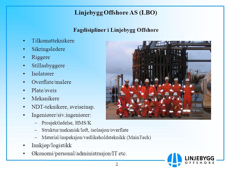 2 Linjebygg Offshore AS (LBO) Fagdisipliner i Linjebygg Offshore Tilkomstteknikere Sikringsledere Riggere Stillasbyggere Isolatører Overflate/malere P