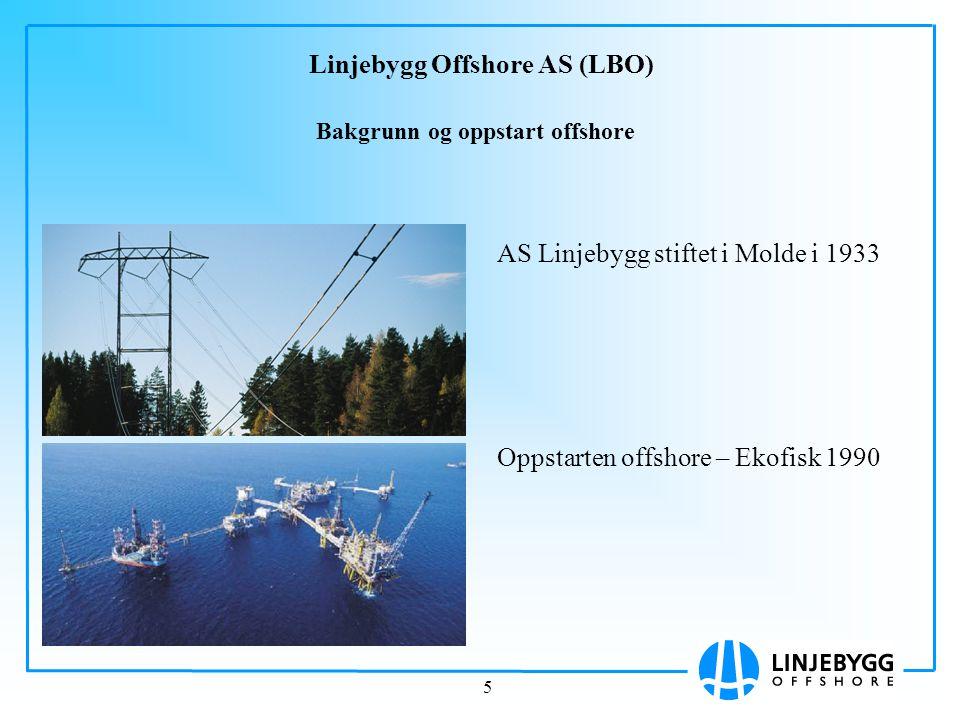 5 Linjebygg Offshore AS (LBO) AS Linjebygg stiftet i Molde i 1933 Oppstarten offshore – Ekofisk 1990 Bakgrunn og oppstart offshore