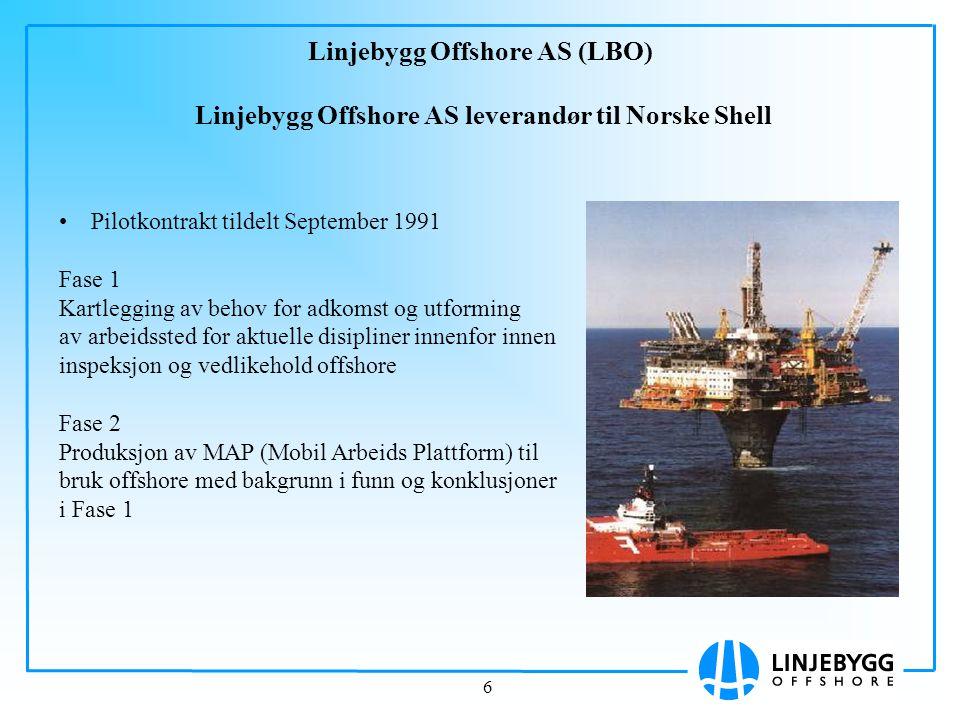 6 Linjebygg Offshore AS (LBO) Linjebygg Offshore AS leverandør til Norske Shell Pilotkontrakt tildelt September 1991 Fase 1 Kartlegging av behov for a