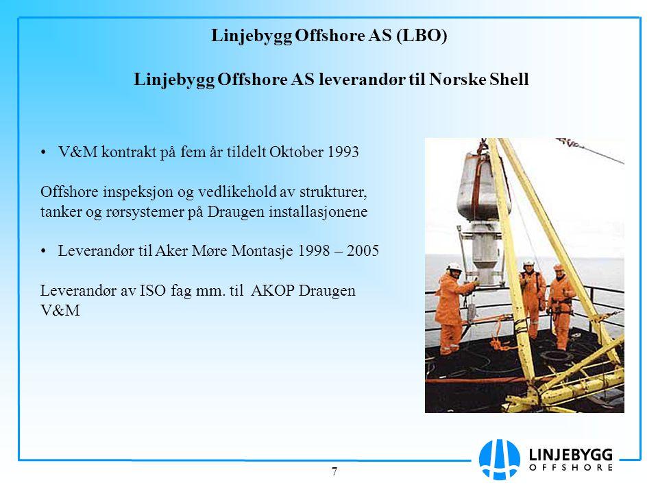 7 Linjebygg Offshore AS (LBO) Linjebygg Offshore AS leverandør til Norske Shell V&M kontrakt på fem år tildelt Oktober 1993 Offshore inspeksjon og ved