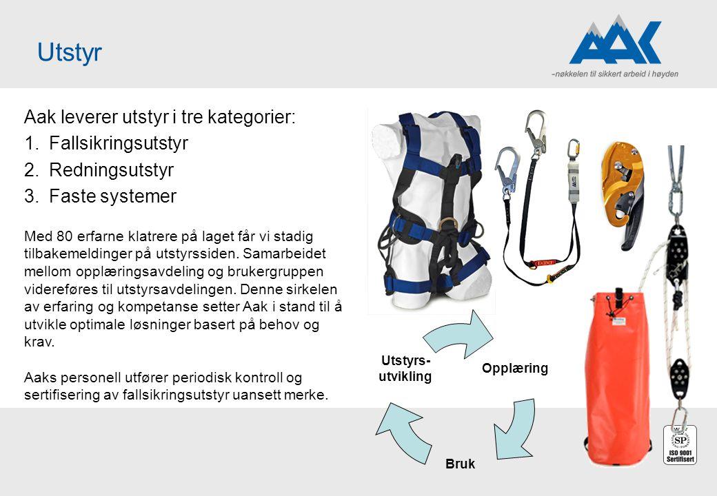Utstyr Aak leverer utstyr i tre kategorier: 1.Fallsikringsutstyr 2.Redningsutstyr 3.Faste systemer Opplæring Bruk Utstyrs- utvikling Med 80 erfarne kl