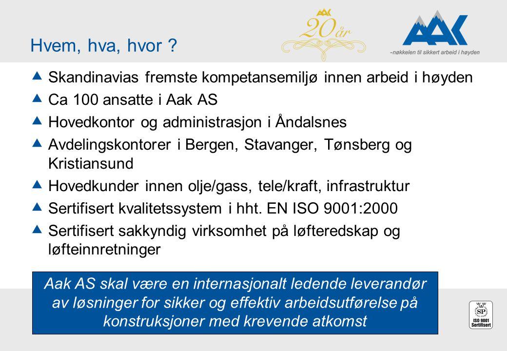 Hvem, hva, hvor ?  Skandinavias fremste kompetansemiljø innen arbeid i høyden  Ca 100 ansatte i Aak AS  Hovedkontor og administrasjon i Åndalsnes 