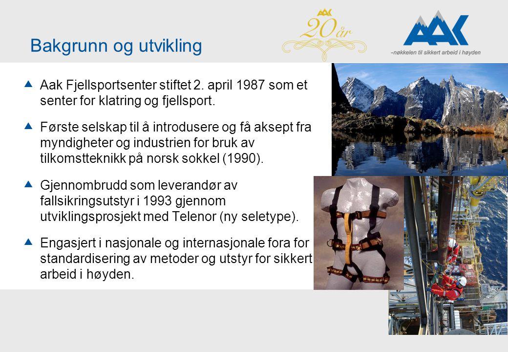 Bakgrunn og utvikling  Aak Fjellsportsenter stiftet 2. april 1987 som et senter for klatring og fjellsport.  Første selskap til å introdusere og få