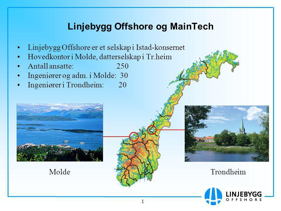 1 Linjebygg Offshore og MainTech Linjebygg Offshore er et selskap i Istad-konsernet Hovedkontor i Molde, datterselskap i Tr.heim Antall ansatte: 250 Ingeniører og adm.