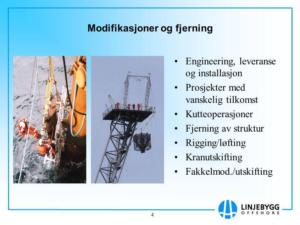 4 Modifikasjoner og fjerning Engineering, leveranse og installasjon Prosjekter med vanskelig tilkomst Kutteoperasjoner Fjerning av struktur Rigging/løfting Kranutskifting Fakkelmod./utskifting