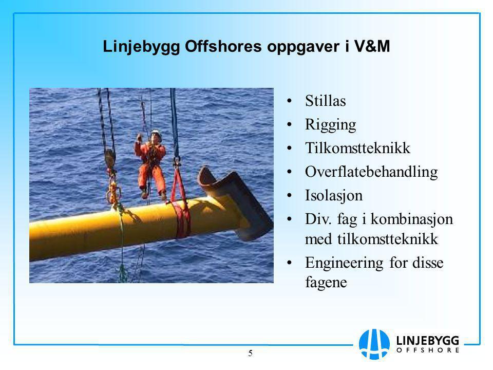 5 Linjebygg Offshores oppgaver i V&M Stillas Rigging Tilkomstteknikk Overflatebehandling Isolasjon Div.