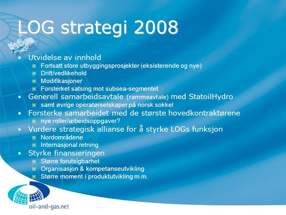 LOG strategi 2008 Utvidelse av innhold  Fortsatt store utbyggingsprosjekter (eksisterende og nye)  Drift/vedlikehold  Modifikasjoner  Forsterket s