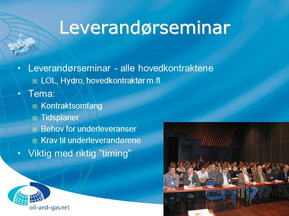 Leverandørseminar Leverandørseminar - alle hovedkontraktene  LOL, Hydro, hovedkontraktør m.fl. Tema:  Kontraktsomfang  Tidsplaner  Behov for under