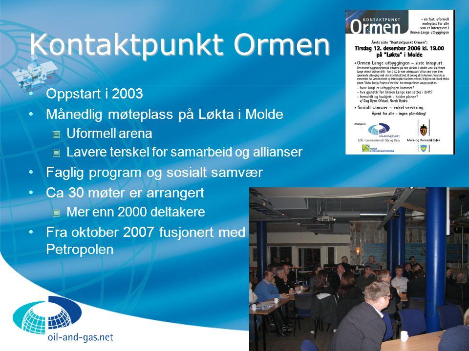 Kontaktpunkt Ormen Oppstart i 2003 Månedlig møteplass på Løkta i Molde  Uformell arena  Lavere terskel for samarbeid og allianser Faglig program og