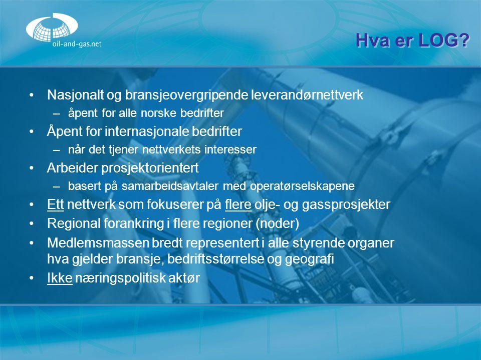 Hva er LOG? Nasjonalt og bransjeovergripende leverandørnettverk –å–åpent for alle norske bedrifter Åpent for internasjonale bedrifter –n–når det tjene