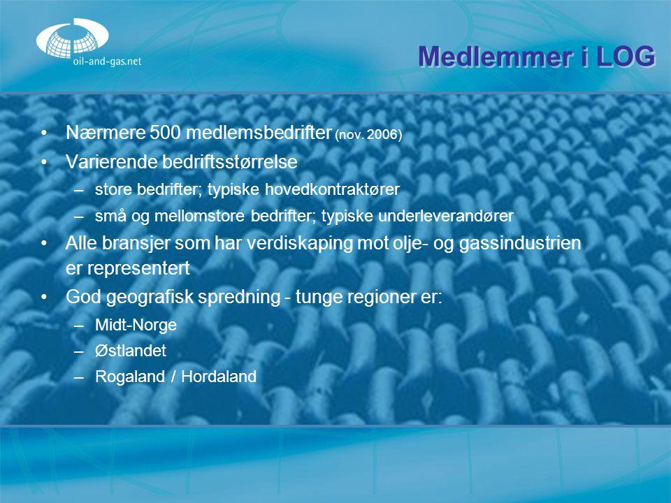 Medlemmer i LOG Nærmere 500 medlemsbedrifter (nov. 2006) Varierende bedriftsstørrelse –s–store bedrifter; typiske hovedkontraktører –s–små og mellomst