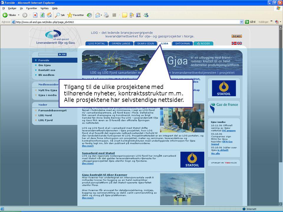 Tilgang til de ulike prosjektene med tilhørende nyheter, kontraktsstruktur m.m. Alle prosjektene har selvstendige nettsider.