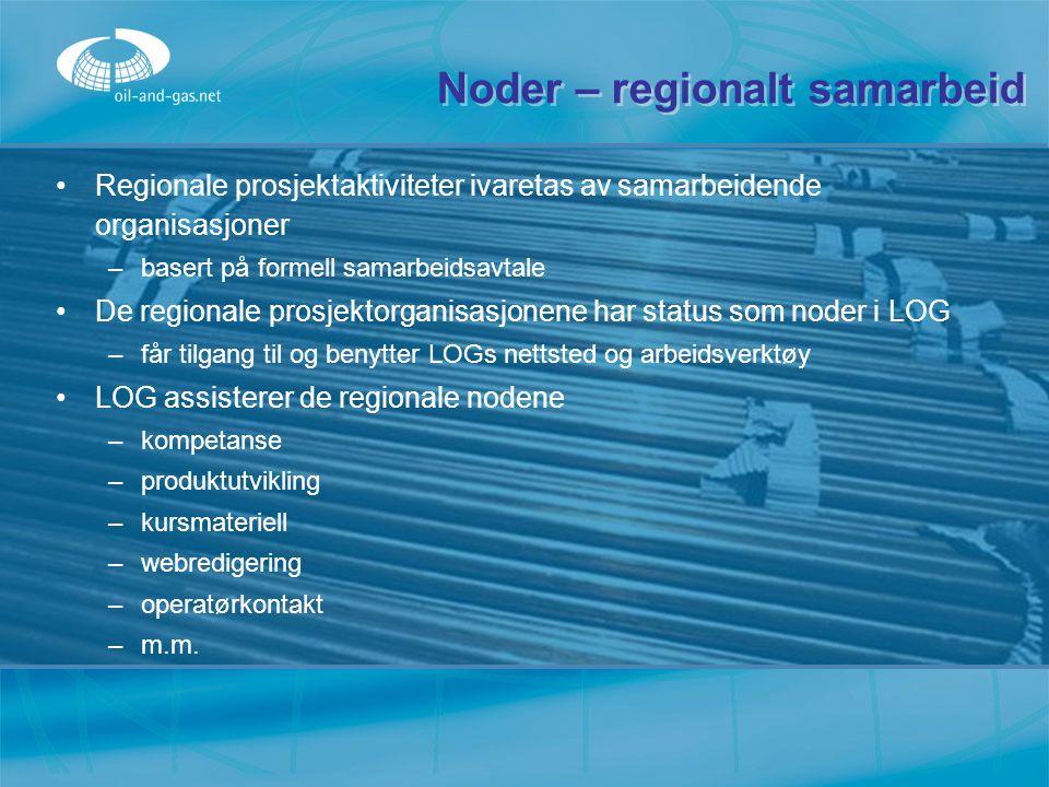 Noder – regionalt samarbeid Regionale prosjektaktiviteter ivaretas av samarbeidende organisasjoner –b–basert på formell samarbeidsavtale De regionale