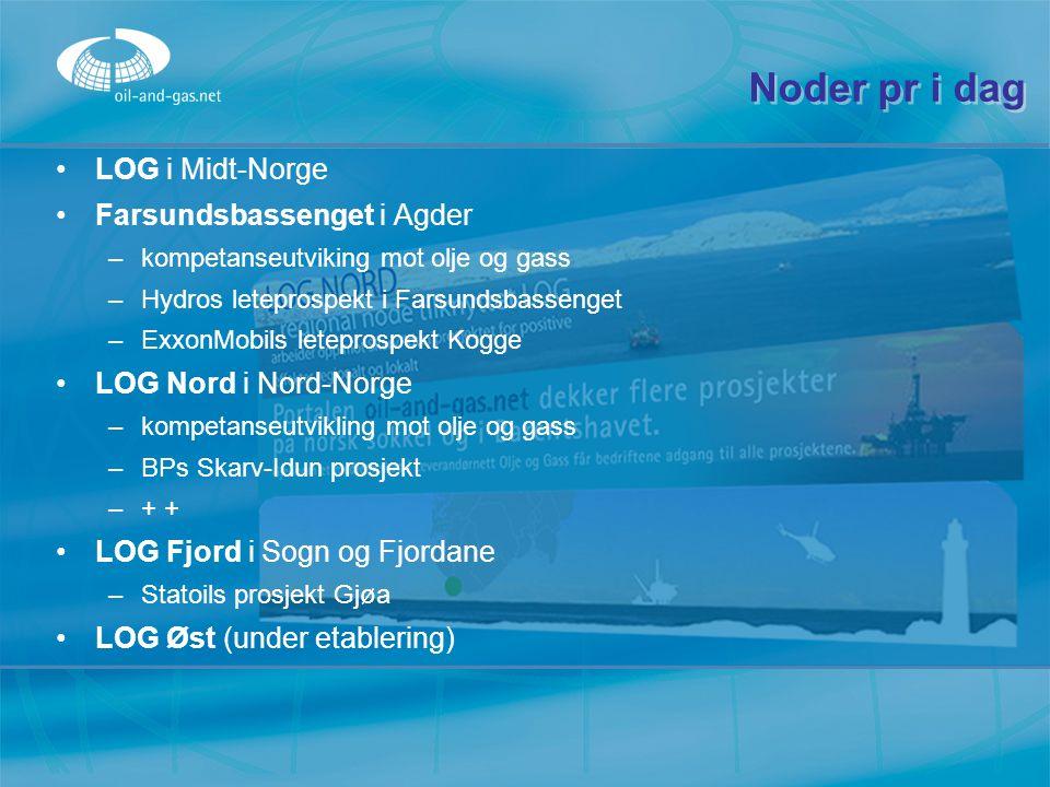 Noder pr i dag LOG i Midt-Norge Farsundsbassenget i Agder –k–kompetanseutviking mot olje og gass –H–Hydros leteprospekt i Farsundsbassenget –E–ExxonMo
