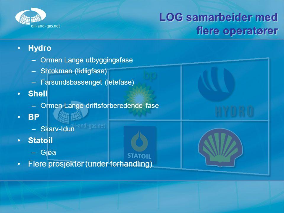 LOG samarbeider med flere operatører Hydro –O–Ormen Lange utbyggingsfase –S–Shtokman (tidligfase) –F–Farsundsbassenget (letefase) Shell –O–Ormen Lange