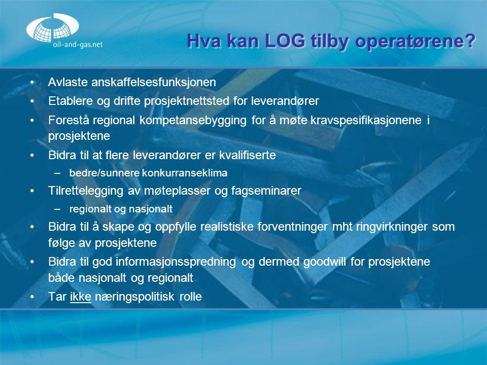 Hva kan LOG tilby operatørene? Avlaste anskaffelsesfunksjonen Etablere og drifte prosjektnettsted for leverandører Forestå regional kompetansebygging
