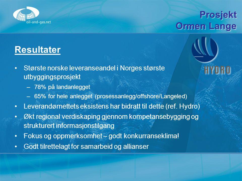 Resultater Største norske leveranseandel i Norges største utbyggingsprosjekt –7–78% på landanlegget –6–65% for hele anlegget (prosessanlegg/offshore/L