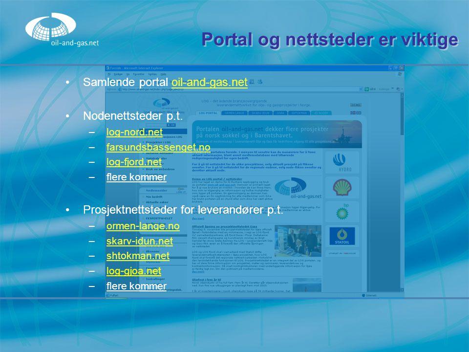 Portal og nettsteder er viktige Samlende portal oil-and-gas.net Nodenettsteder p.t. –l–log-nord.net –f–farsundsbassenget.no –l–log-fjord.net –f–flere