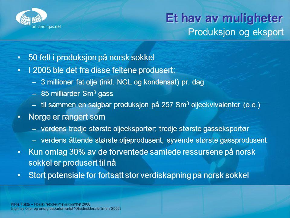 Et hav av muligheter 50 felt i produksjon på norsk sokkel I 2005 ble det fra disse feltene produsert: –3–3 millioner fat olje (inkl. NGL og kondensat)