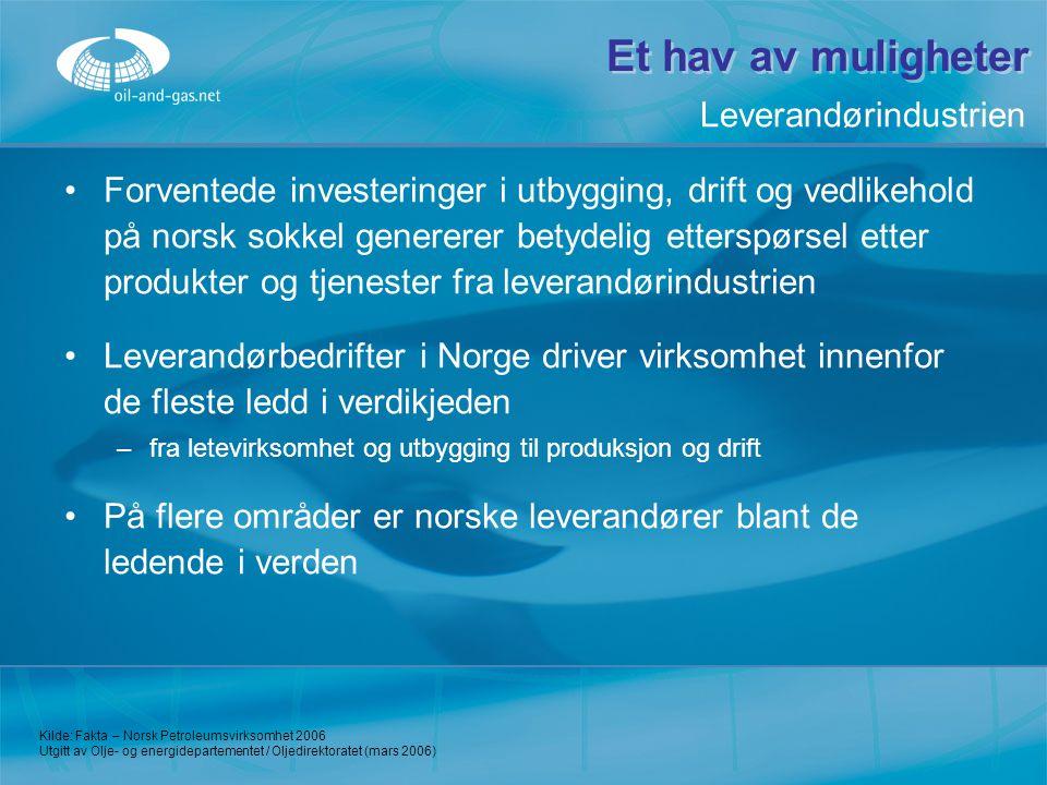Et hav av muligheter Forventede investeringer i utbygging, drift og vedlikehold på norsk sokkel genererer betydelig etterspørsel etter produkter og tj
