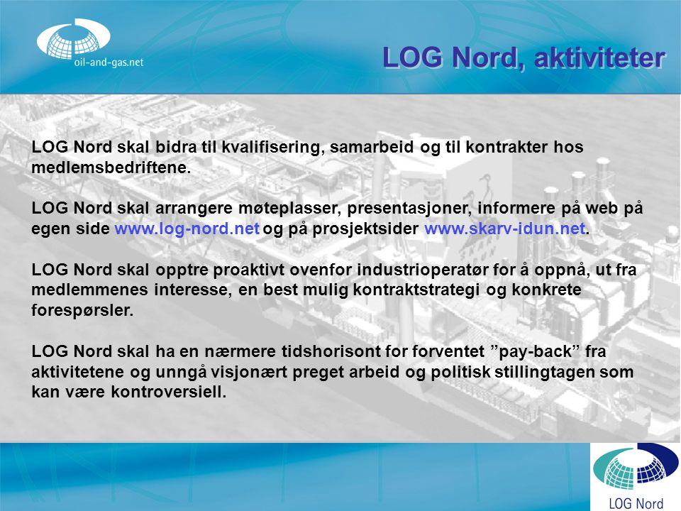 LOG Nord, aktiviteter LOG Nord skal bidra til kvalifisering, samarbeid og til kontrakter hos medlemsbedriftene. LOG Nord skal arrangere møteplasser, p