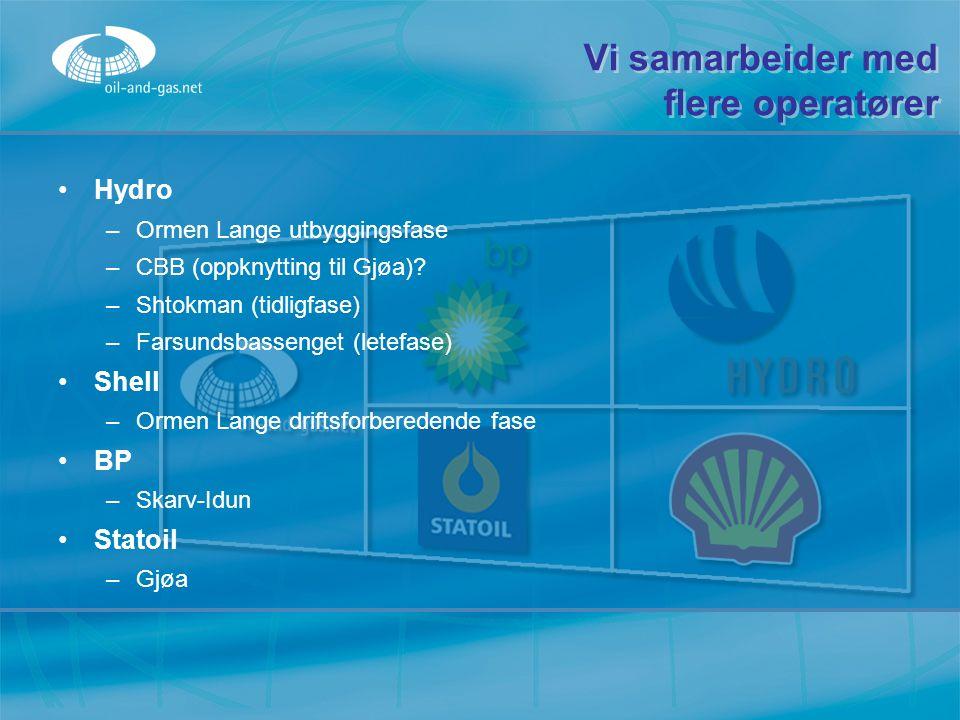 Vi samarbeider med flere operatører Hydro –Ormen Lange utbyggingsfase –CBB (oppknytting til Gjøa)? –Shtokman (tidligfase) –Farsundsbassenget (letefase