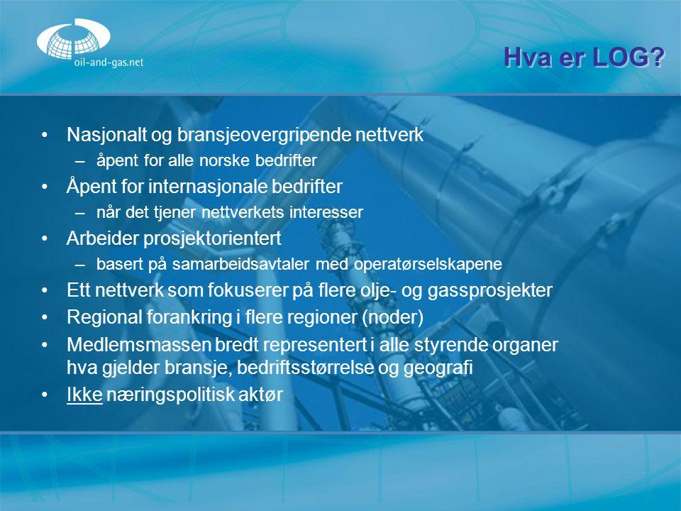 Hva er LOG? Nasjonalt og bransjeovergripende nettverk –åpent for alle norske bedrifter Åpent for internasjonale bedrifter –når det tjener nettverkets