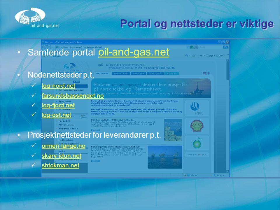 Portal og nettsteder er viktige Samlende portal oil-and-gas.net oil-and-gas.net Nodenettsteder p.t.  log-nord.net log-nord.net  farsundsbassenget.no