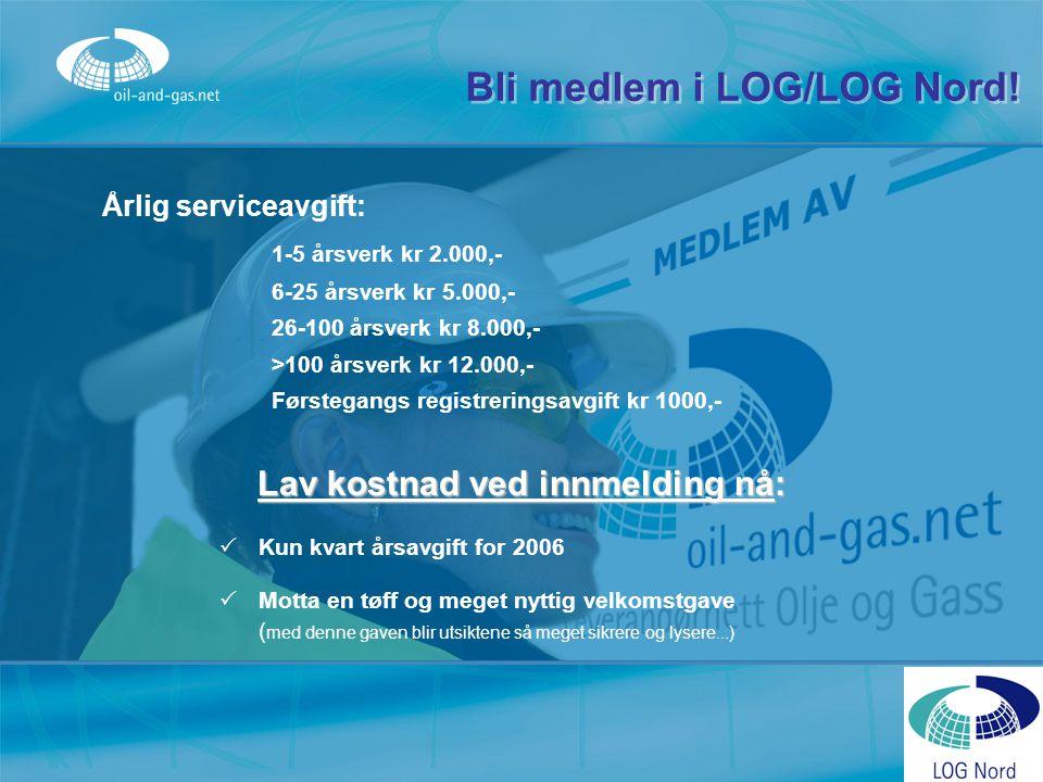 Bli medlem i LOG/LOG Nord! Årlig serviceavgift: 1-5 årsverk kr 2.000,- 6-25 årsverk kr 5.000,- 26-100 årsverk kr 8.000,- >100 årsverk kr 12.000,- Førs