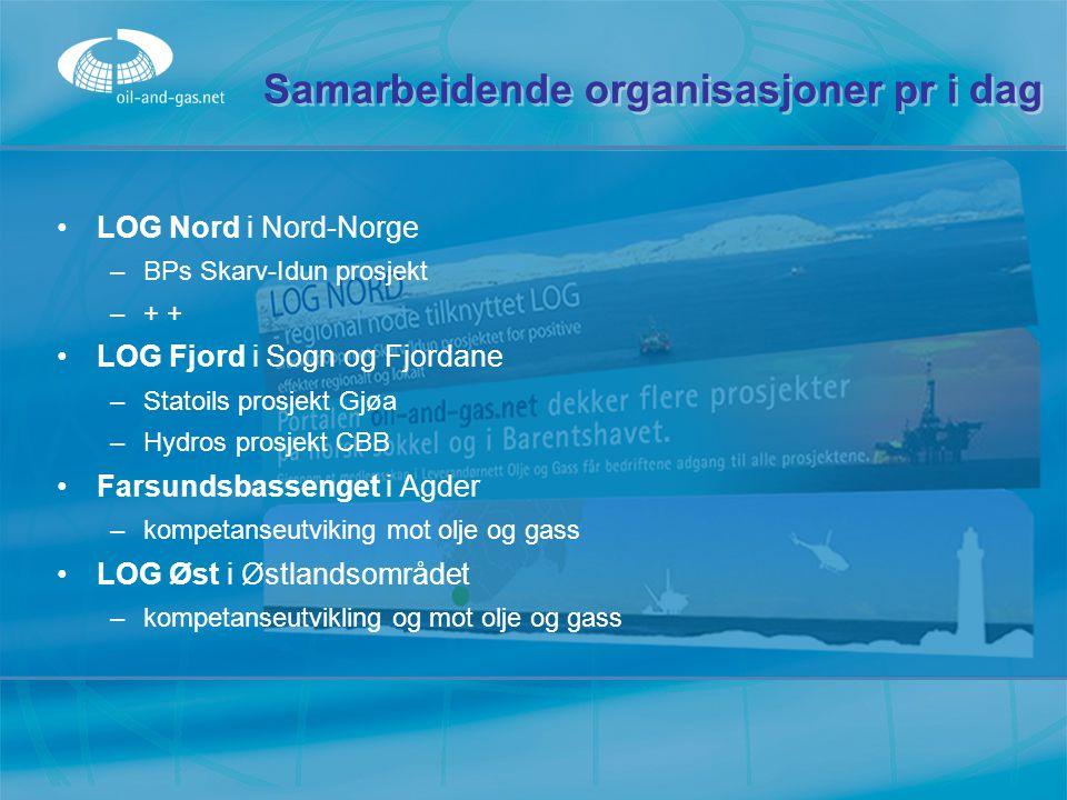 Samarbeidende organisasjoner pr i dag LOG Nord i Nord-Norge –BPs Skarv-Idun prosjekt –+ + LOG Fjord i Sogn og Fjordane –Statoils prosjekt Gjøa –Hydros