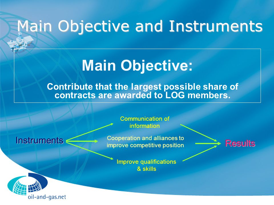 Main Objective and Instruments Main Objective: Contribute that the largest possible share of contracts are awarded to LOG members.
