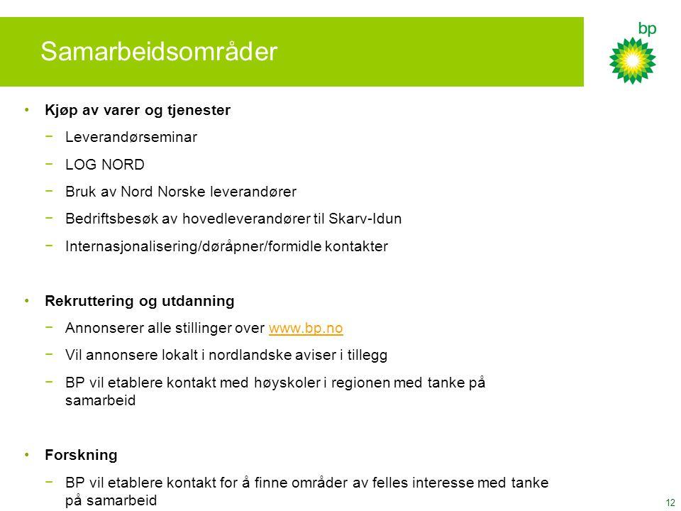 12 Samarbeidsområder Kjøp av varer og tjenester −Leverandørseminar −LOG NORD −Bruk av Nord Norske leverandører −Bedriftsbesøk av hovedleverandører til