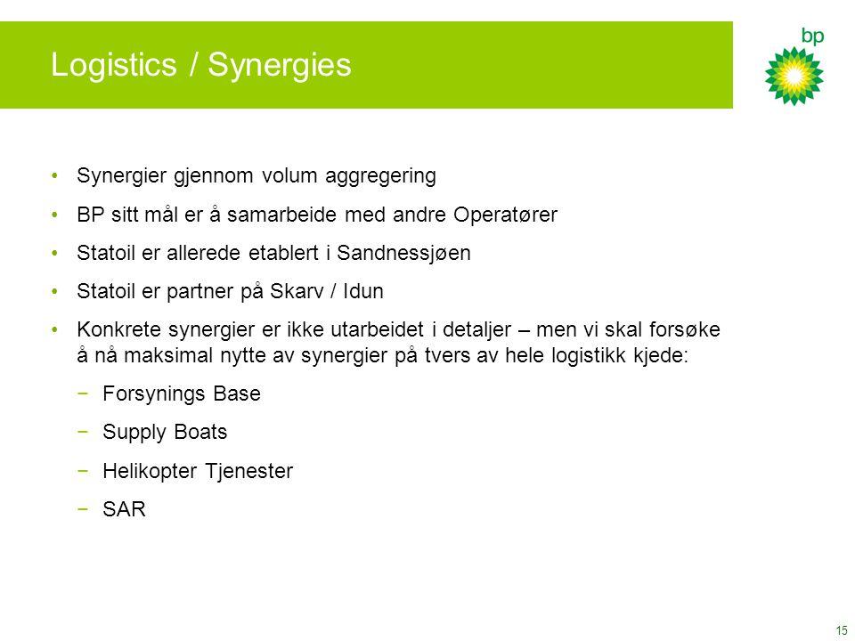 15 Logistics / Synergies Synergier gjennom volum aggregering BP sitt mål er å samarbeide med andre Operatører Statoil er allerede etablert i Sandnessj