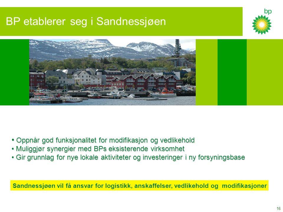 16 BP etablerer seg i Sandnessjøen Oppnår god funksjonalitet for modifikasjon og vedlikehold Oppnår god funksjonalitet for modifikasjon og vedlikehold