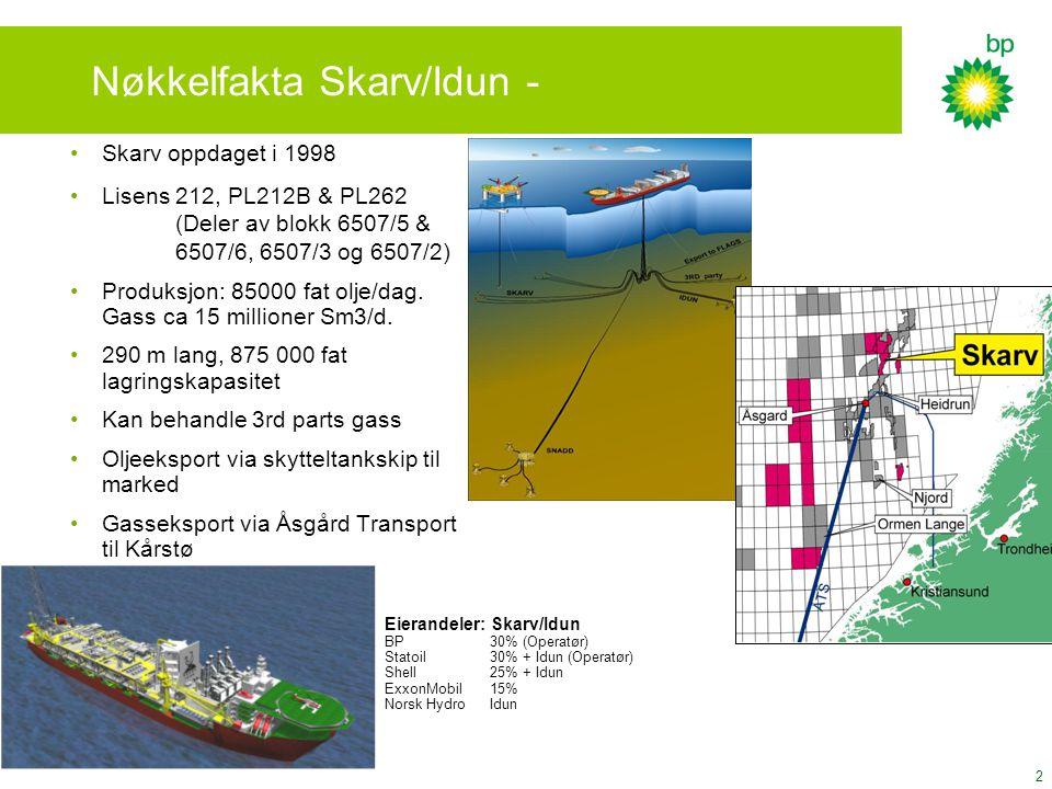 2 Nøkkelfakta Skarv/Idun - Skarv oppdaget i 1998 Lisens 212, PL212B & PL262 (Deler av blokk 6507/5 & 6507/6, 6507/3 og 6507/2) Produksjon: 85000 fat o