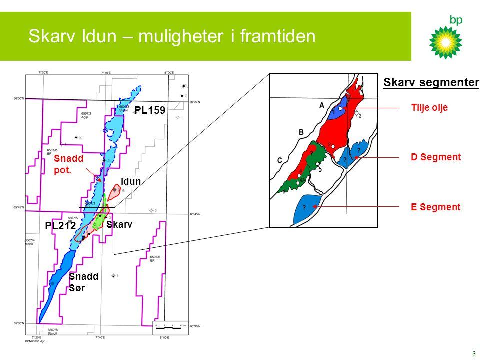 6 Skarv Idun – muligheter i framtiden Skarv Snadd Sør Idun PL212 PL159 Snadd pot. D Segment E Segment 5 1 Tilje olje Skarv segmenter